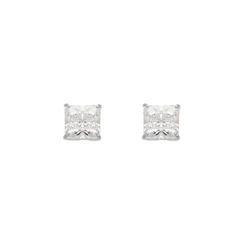 543-132W Princess Cut CZ Stud Earrings