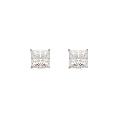 543-133W Princess Cut CZ Stud Earrings