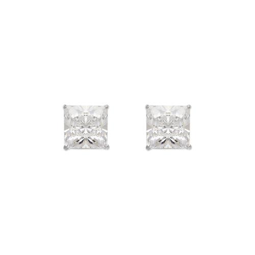 543-134W Princess Cut CZ Stud Earrings