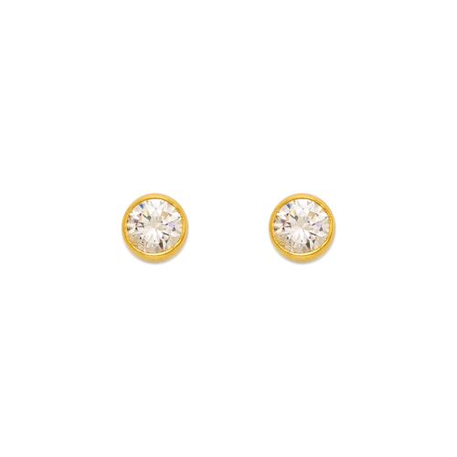 543-142 Round Beveled CZ Stud Earrings