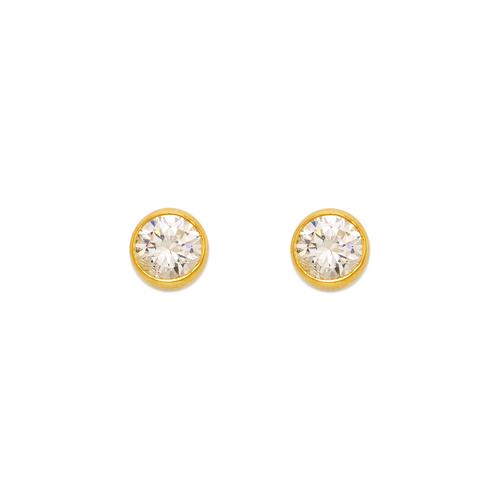 543-143 Round Beveled CZ Stud Earrings