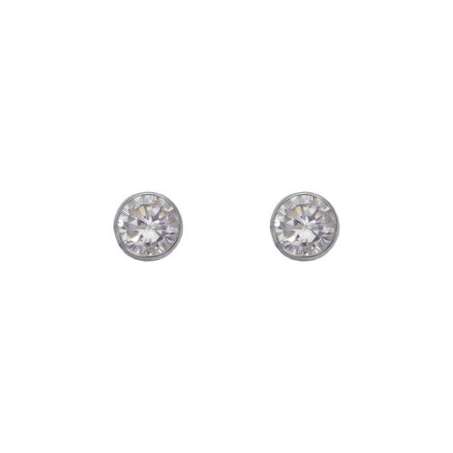 543-142W Round Beveled CZ Stud Earrings