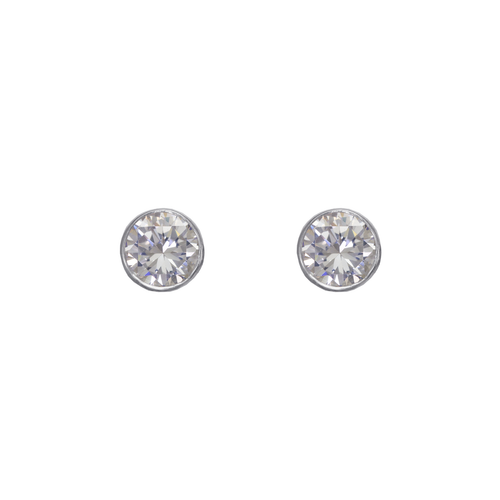 543-143W Round Beveled CZ Stud Earrings
