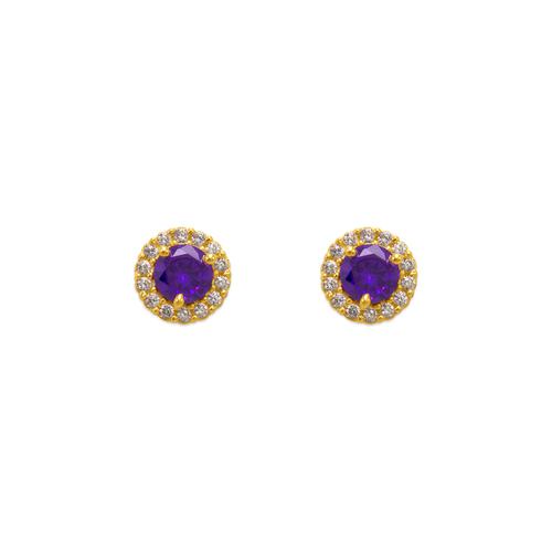 343-162PL 4mm Purple Round CZ Stud Earrings