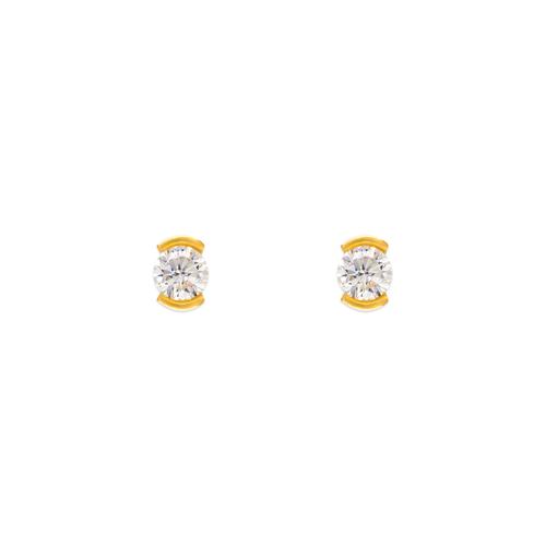 343-282 Open Bezel CZ Stud Earrings