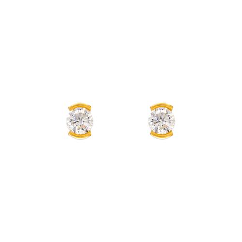 343-283 Open Bezel CZ Stud Earrings