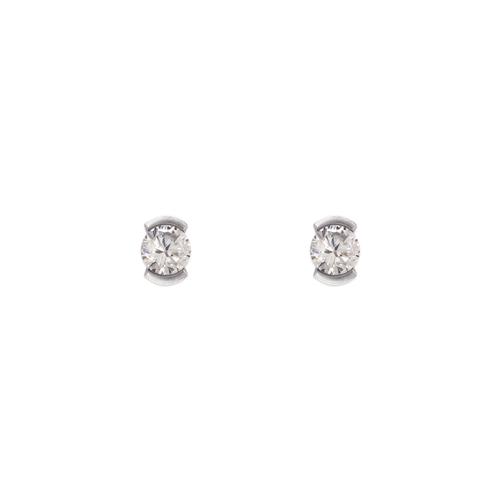 343-282W Open Bezel CZ Stud Earrings