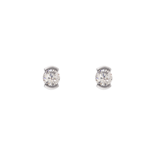343-283W Open Bezel CZ Stud Earrings