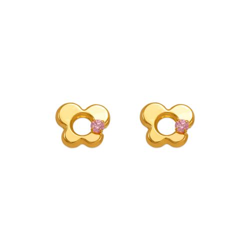 343-433PK Pink Butterfly CZ Stud Earrings