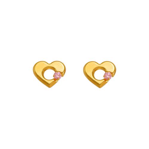 343-434PK Pink Heart CZ Stud Earrings