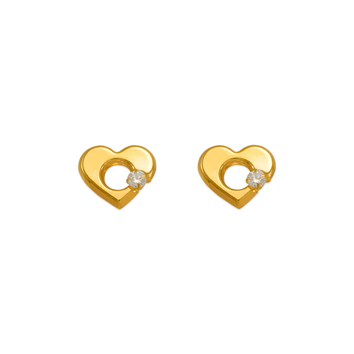 343-434WH White Heart CZ Stud Earrings