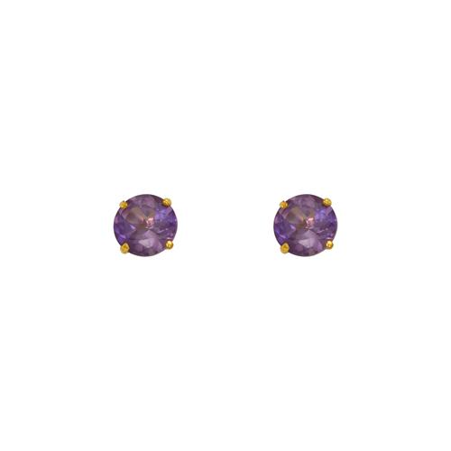 543-102LP Light Purple Amethyst Birthstone Screw Back CZ Stud Earrings