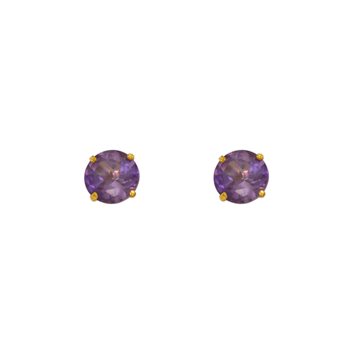 543-103LP Light Purple Amethyst Birthstone Screw Back CZ Stud Earrings