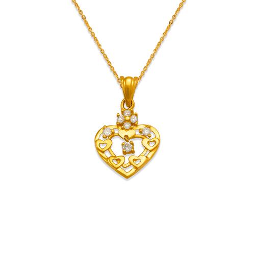 463-504 High Polished Heart CZ Pendant