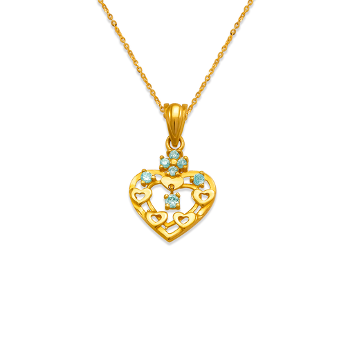 463-504BL High Polished Heart CZ Pendant