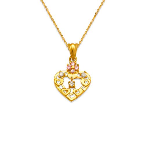 463-504PK High Polished Heart CZ Pendant