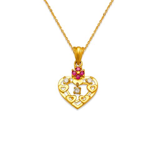 463-504RD High Polished Heart CZ Pendant