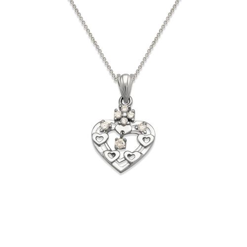463-504W High Polished Heart CZ Pendant