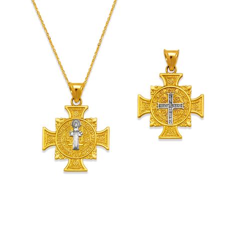 362-982Z-017 San Benito Cross Two-Sided Scapular Pendant