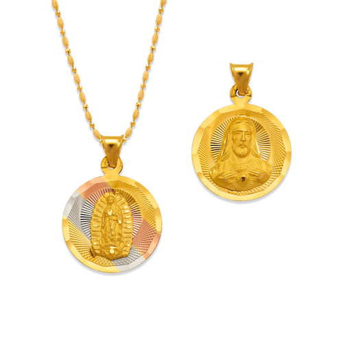 362-931T-016 Round Guadalupe & Sacred Heart Two-Sided Scapular Pendant