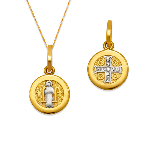 362-971Z-010 Round San Benito Cross Two-Sided Scapular Pendant