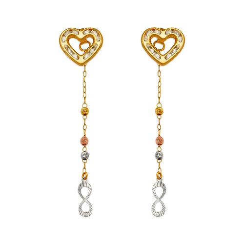 344-003 Heart Dangling CZ Earrings