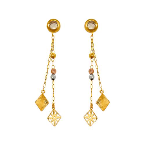 344-005 Diamonds Dangling CZ Earrings