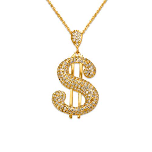 263-215 Fancy Dollar Sign CZ Pendant