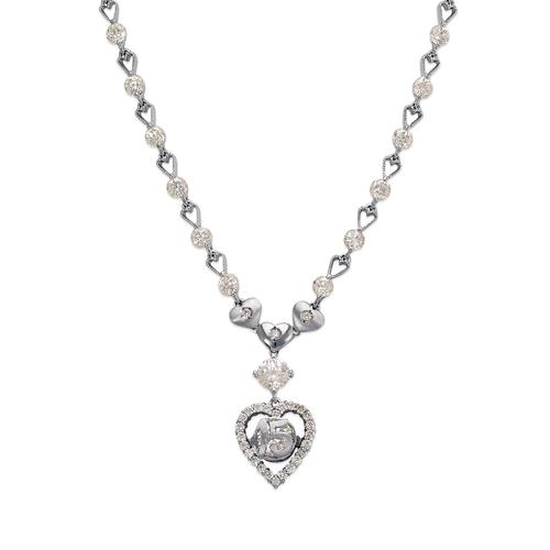 483-009W Fancy 15 Anos Heart CZ Necklace