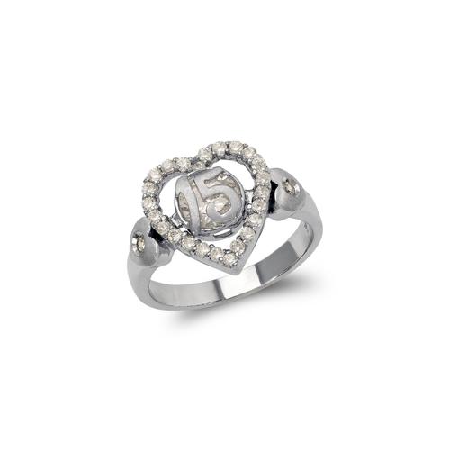 483-011W Ladies Fancy 15 Anos Heart CZ Ring