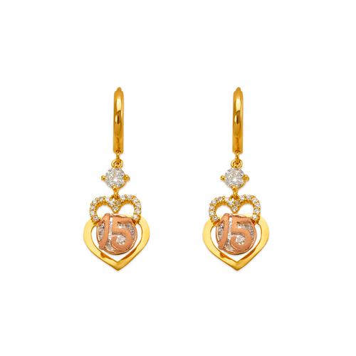 483-030 Fancy 15 Anos Double Heart CZ Earrings