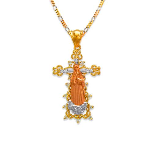 463-002 Fancy Guadalupe Cross CZ Pendant