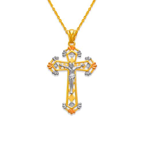 463-018 Fancy Jesus Cross CZ Pendant