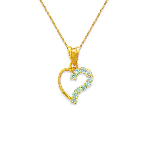 463-501BL Heart Blue CZ Pendant