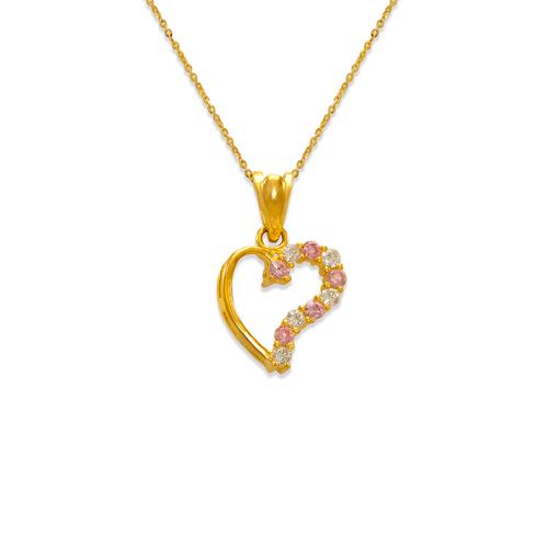463-501PK Heart Pink CZ Pendant