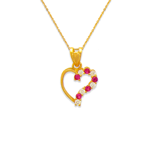 463-501RD Heart Red CZ Pendant