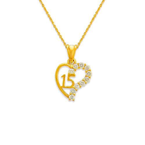 463-502 15 Anos Heart White CZ Pendant