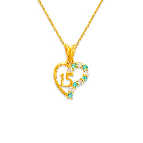 463-502BL 15 Anos Heart Blue CZ Pendant