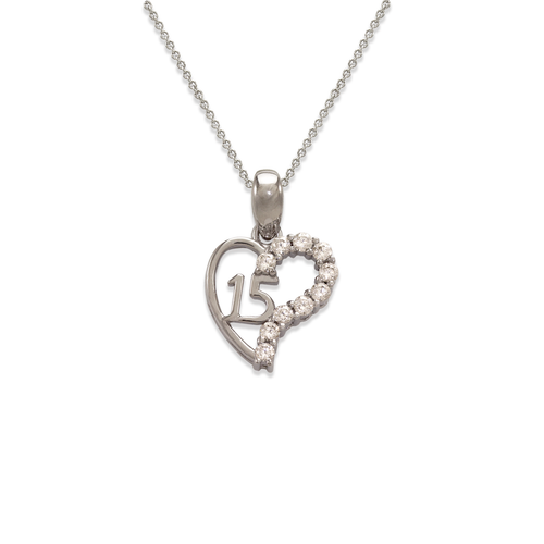 463-502W White 15 Anos Heart CZ Pendant