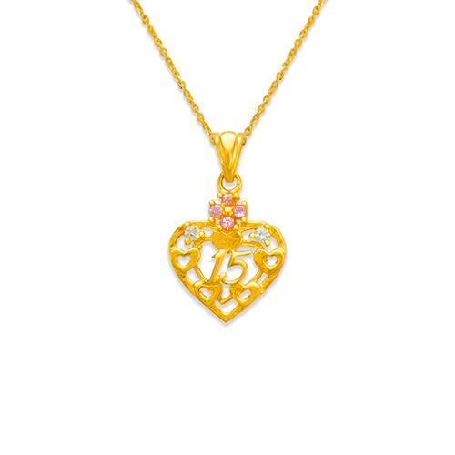 463-503PK 15 Anos Heart Pink CZ Pendant
