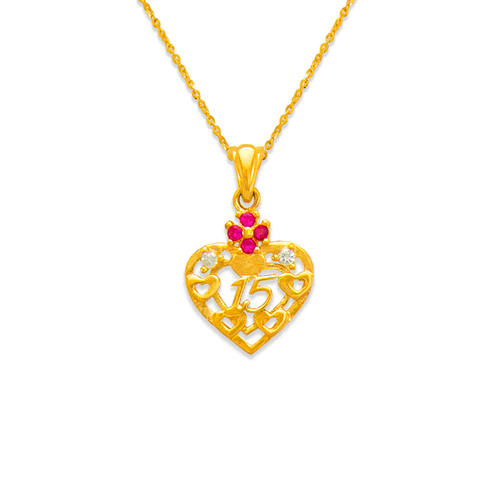 463-503RD 15 Anos Heart Red CZ Pendant