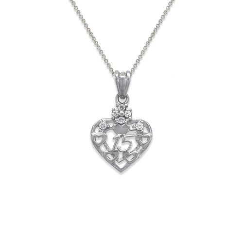 463-503W 15 Anos Heart CZ Pendant