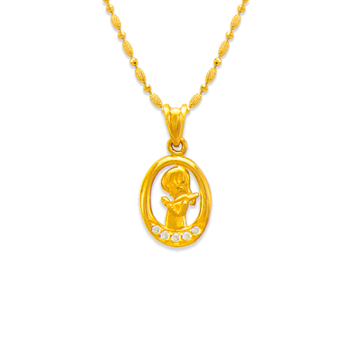463-603 Fancy Communion Girl CZ Pendant