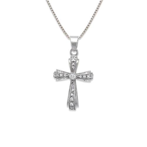 663-003W Cross CZ Pendant