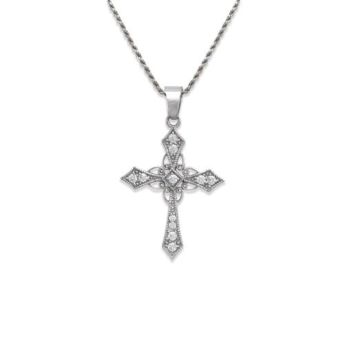 663-004W Cross CZ Pendant