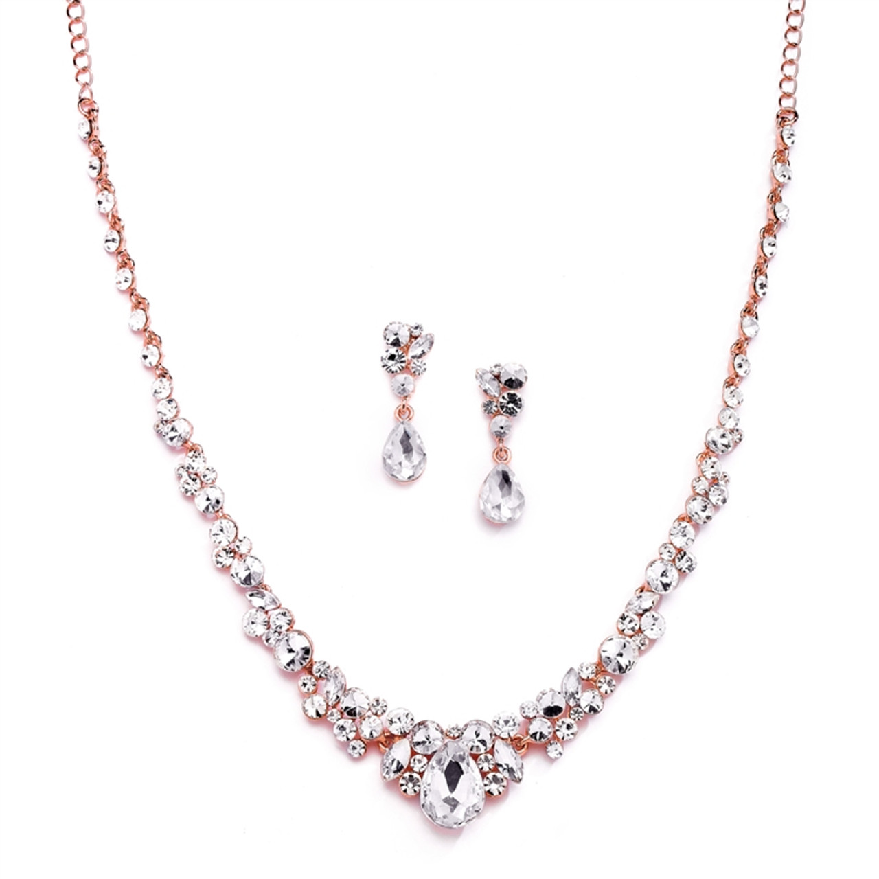 Rose Gold Crystal Wedding And Prom Jewelry Set