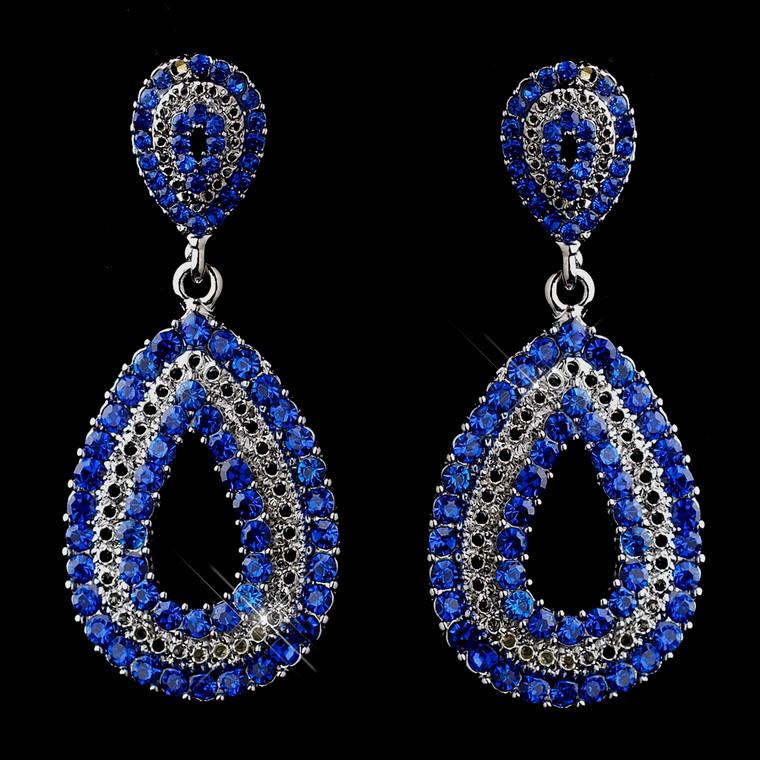 5 Pair Royal Blue Earrings for Bridesmaids