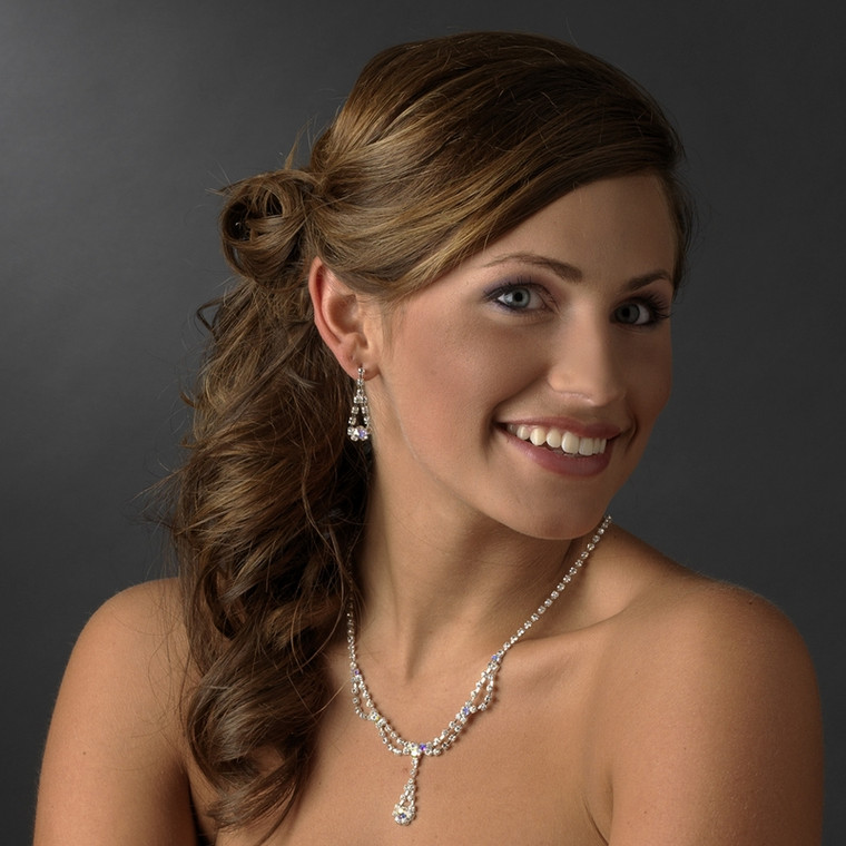 5 Sparkling Boxed AB Crystal Bridesmaid Jewelry Sets