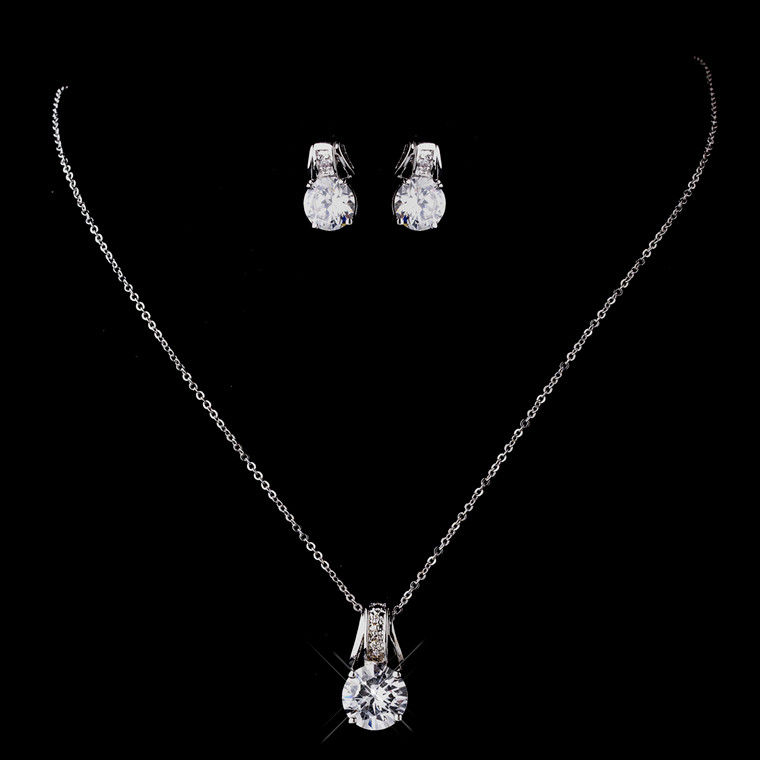 6 Sets CZ Pendant and Earring Bridesmaid Jewelry