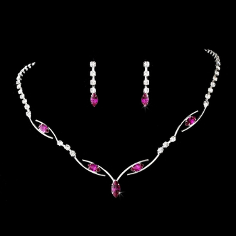 5 Sets Fuchsia Rhinestone Bridesmaid Jewelry 5104f